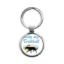 Pushy Dog Treibball Round Keychain
