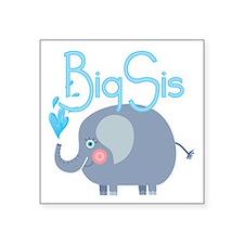 "Elephant Big Sis Square Sticker 3"" x 3"""