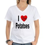 I Love Potatoes (Front) Women's V-Neck T-Shirt
