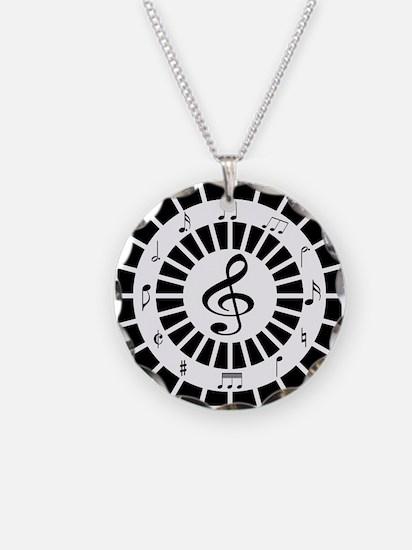 Stylish black white musical notes design Necklace