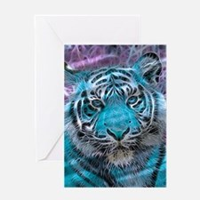 Crazy blue Tiger (C) Greeting Cards