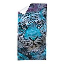 Crazy blue Tiger (C) Beach Towel