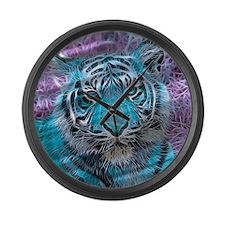 Crazy blue Tiger (C) Large Wall Clock