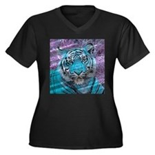 Crazy blue Tiger (C) Plus Size T-Shirt