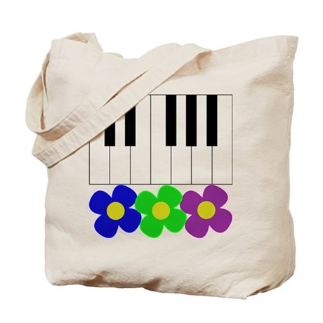 Piano Keyboard & Flowers Tote Bag
