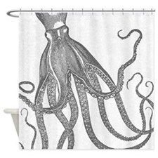 Exquisite Vintage Octopus In Grey Shower Curtain
