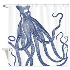 Vintage Octopus Wood Block Print In Shower Curtain