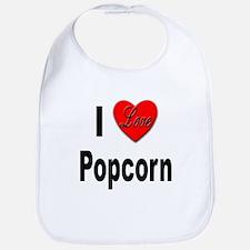 I Love Popcorn Bib