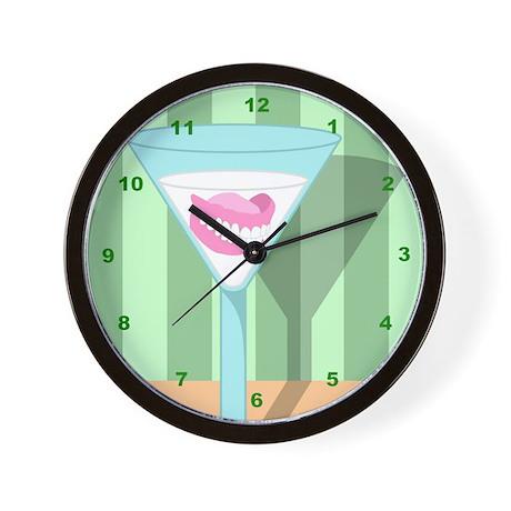 Dentures False Teeth Martini Wall Clock