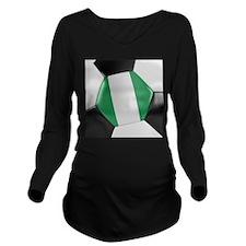 Nigeria Soccer Ball Long Sleeve Maternity T-Shirt