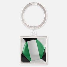 Nigeria Soccer Ball Square Keychain