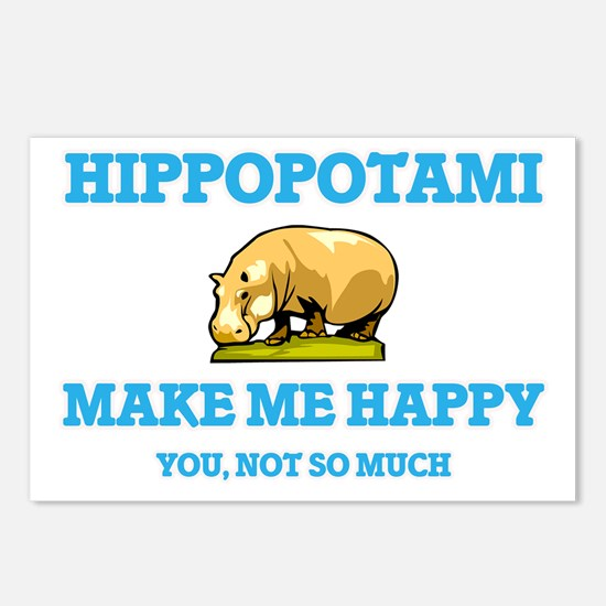 Hippopotami Make Me Happy Postcards (Package of 8)