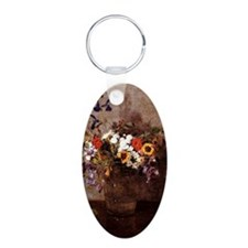 Fantin - Diverse Flowers Aluminum Oval Keychain