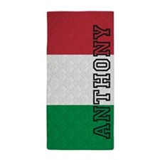 Monogram Italian Flag Damask Beach Towel