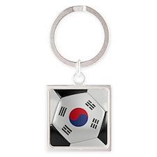 South Korea Soccer Ball Square Keychain
