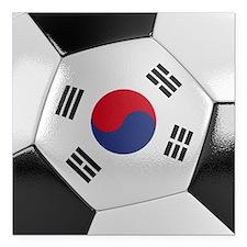 """South Korea Soccer Ball Square Car Magnet 3"""" x 3"""""""