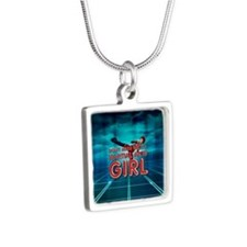 TOP Martial Arts Girl Silver Square Necklace