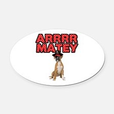 Pirate Boxer Dog Oval Car Magnet