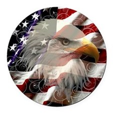 American Eagle Flag Round Car Magnet
