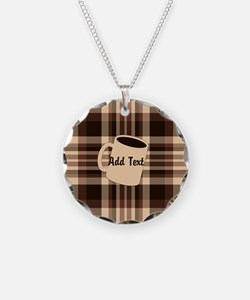 Cup of Coffee plaid dark Necklace
