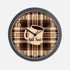 Cup of Coffee plaid dark Wall Clock