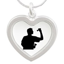 Darts player Silver Heart Necklace