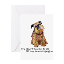 Brussels Griffon Heart Greeting Cards