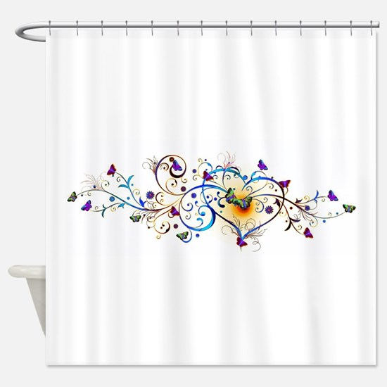 Heart and butterflies Shower Curtain