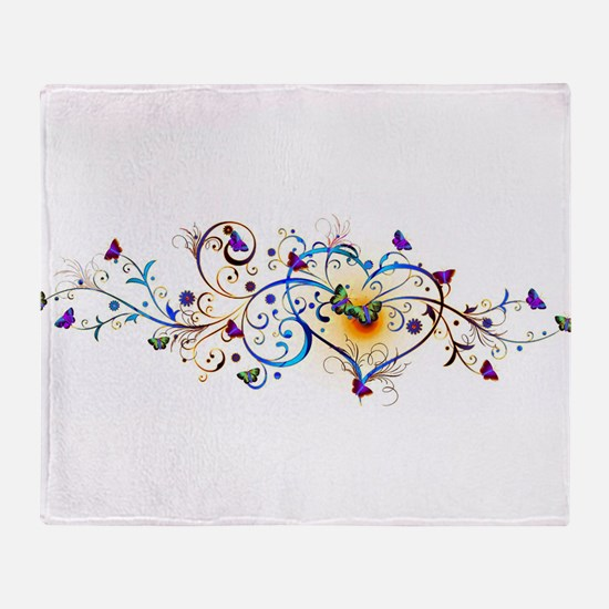 Heart and butterflies Throw Blanket