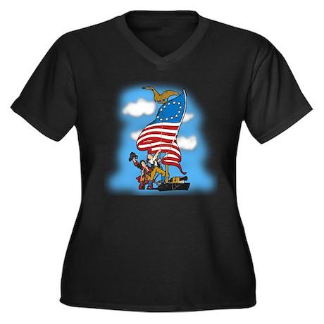 Vintage Patriotic Women's Plus Size V-Neck Dark T-