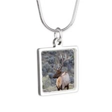 bull elk Silver Square Necklace