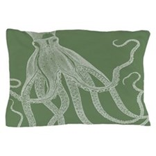 Vintage Octopus In Ash Green Pillow Case