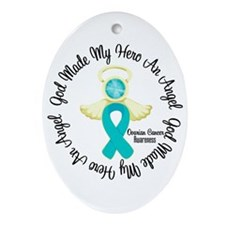 Ovarian Cancer Angel Ribbon Ornament (Oval)