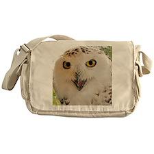 Snowy Owl Close-Up Messenger Bag