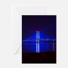 Indian River Bridge at Night Greeting Cards