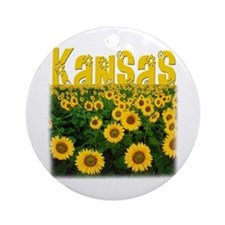 Kansas Sunflower Field Ornament (Round)