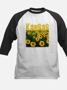 Kansas Sunflower Field Kids Baseball Jersey