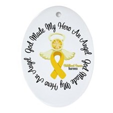 Childhood Cancer Angel Ribbon Ornament (Oval)