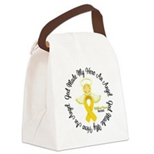 Childhood Cancer Angel Ribbon Canvas Lunch Bag
