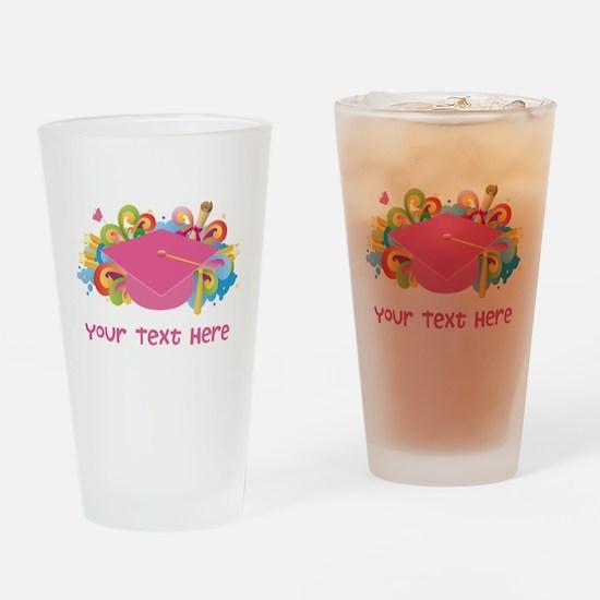 Graduation Hat Logo personalized Drinking Glass