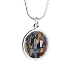 Malevich - Bureau and Room Silver Round Necklace
