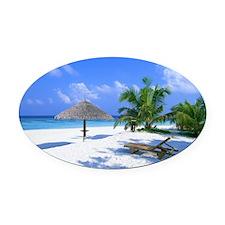 Beach Rest Oval Car Magnet