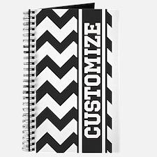 Monogram Stripe Chevron Black White Journal