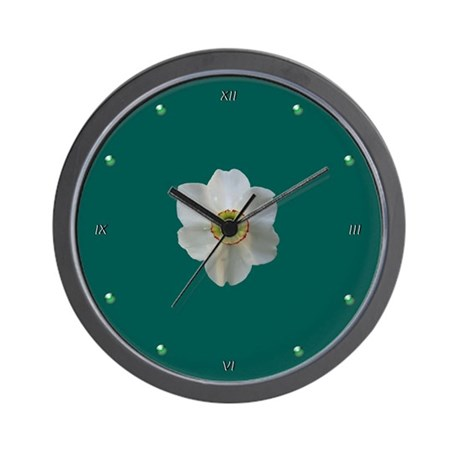White Narcissus Wall Clock
