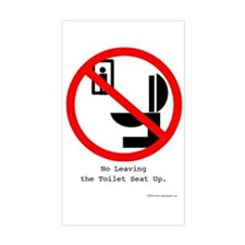 No Leaving the Toilet Seat Up Sticker (Rectangula