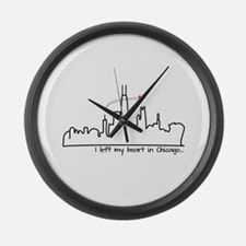 I Left My Heart In Chicago Large Wall Clock