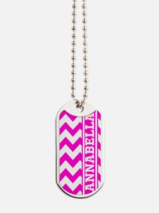 Monogram Hot Pink Chevron Stripe Dog Tags