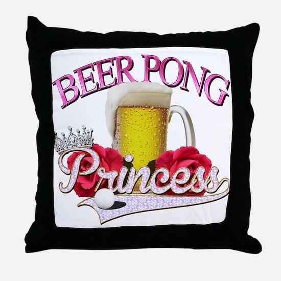 Beer Pong Princess style Throw Pillow