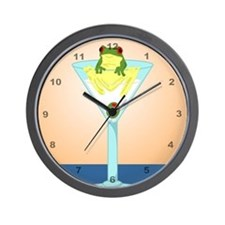 Frog & Olive in Martini Glass Wall Clock