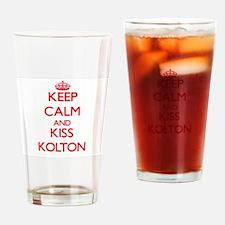 Keep Calm and Kiss Kolton Drinking Glass